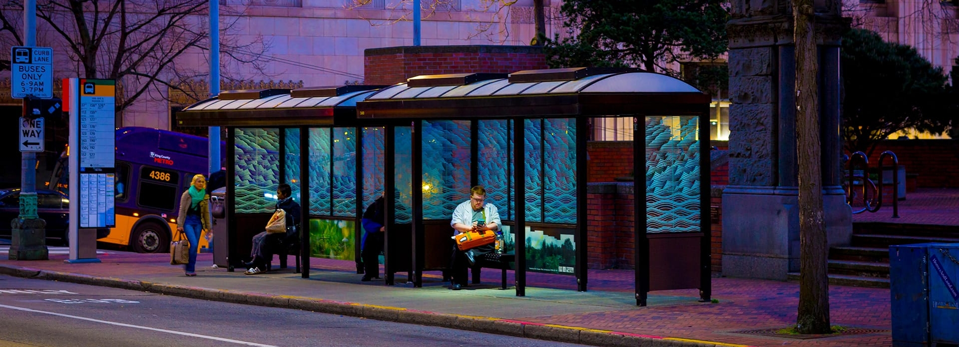 Bus stop with solar-powered lighting