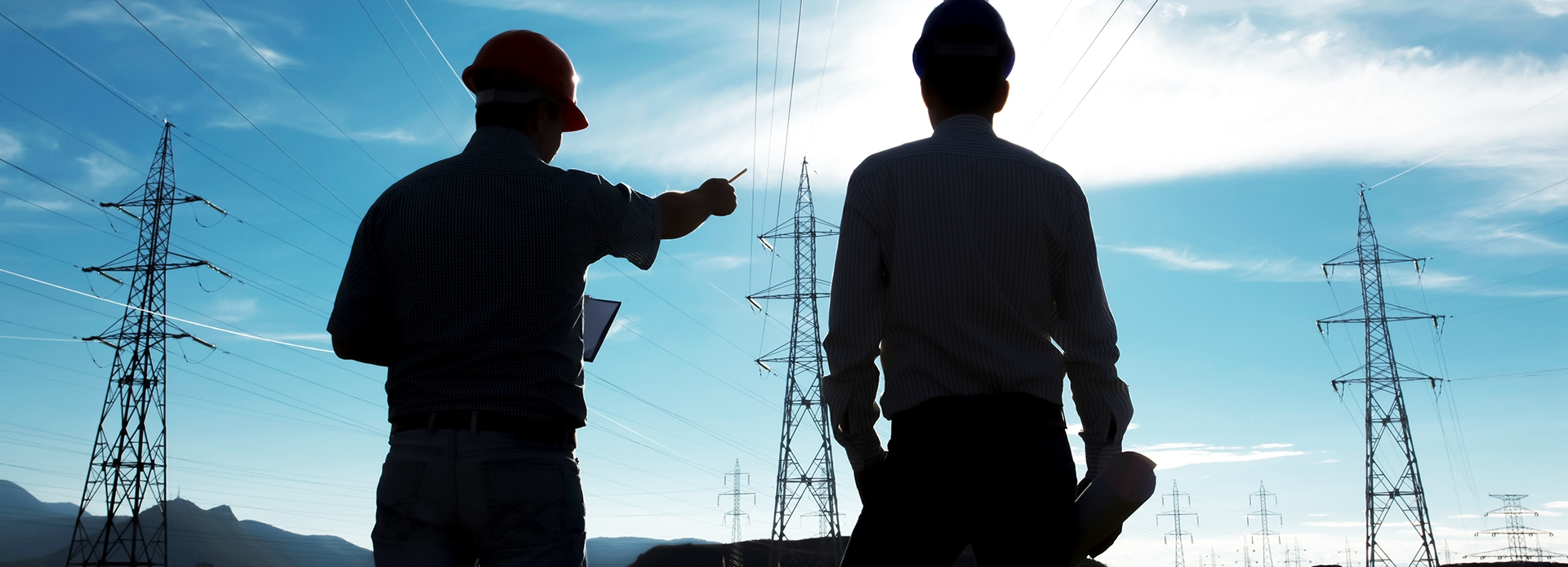 electrical workers surveying power lines