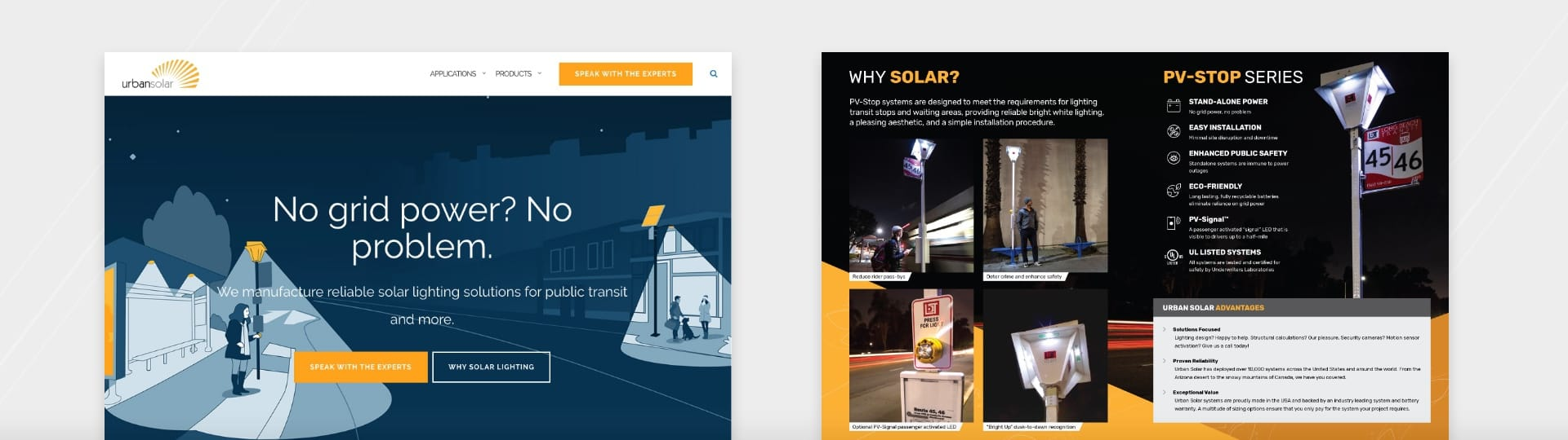 Urban solar website and brochure example