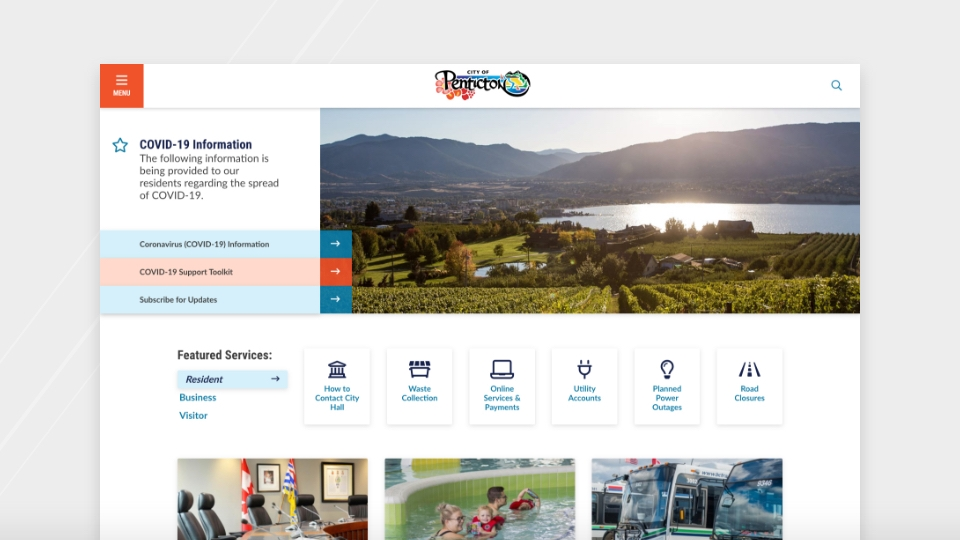 City of Penticton homepage view